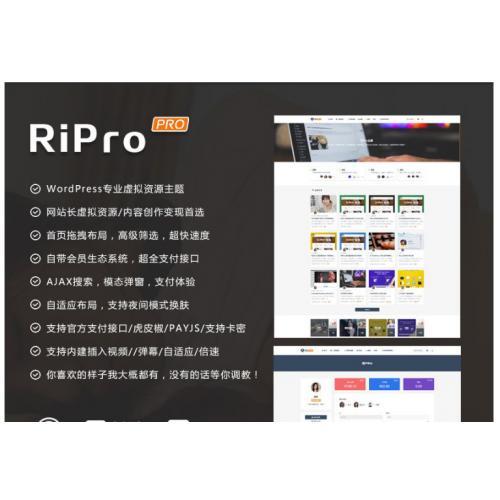 [wordpress模版] 日主题RiPro 7.0破解版解密源码无限制版去授权开心版分享