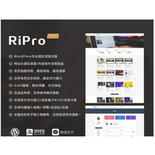 [wordpress模版] RiPro6.6.0主题完美去限制去后门版+share-ripro主题